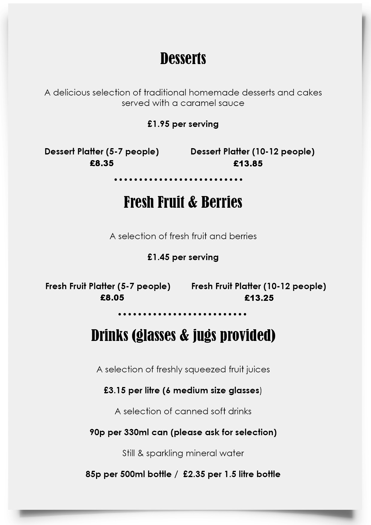Dylan Jack's Catering, Burton - Desserts, Fruit and Drinks