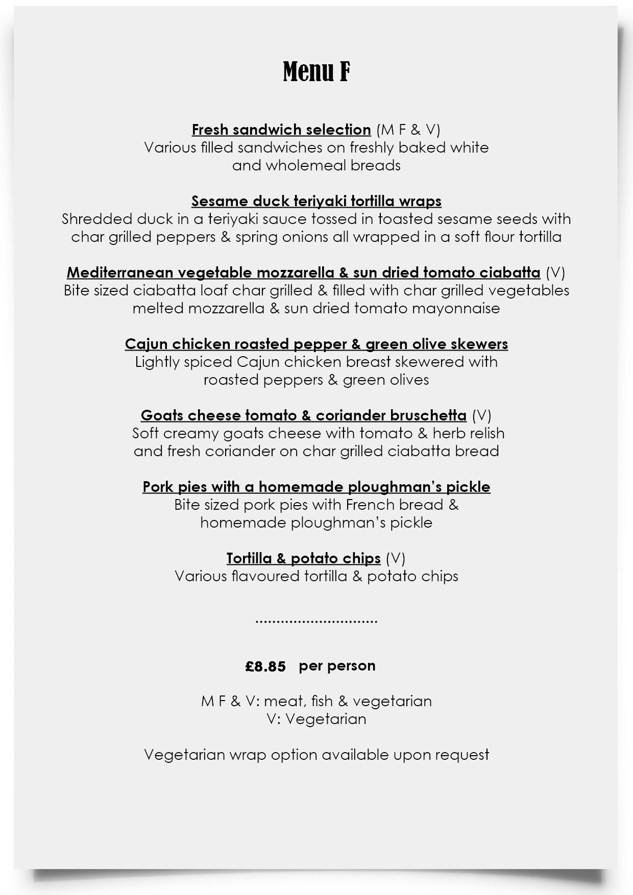 Dylan Jack's Catering, Burton - Menu F